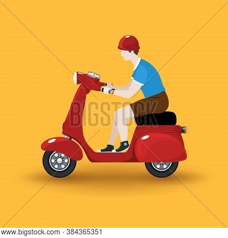 Young Guy Rides A Scooter, Red Vintage Scooter With Man Isolated On Orange Background, Vector Illust
