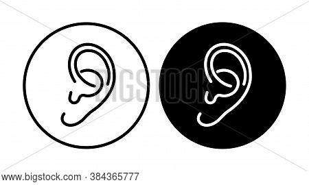 Ear Icon Line. Hearing, Listen Symbol Isolated . Vector Illustration