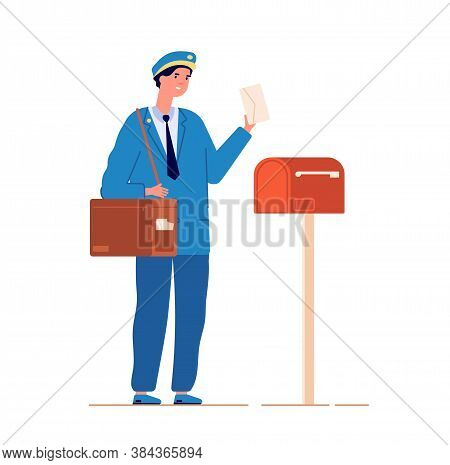 Postman Deliver Mail. Mailed Service, Mailman With Bag Delivering Letter In Mailbox. Man In Blue Uni
