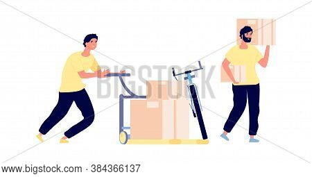 Loaders Service. Men Hold Boxes, Smart Cargo Transportation. Flat Isolated Delivery Man Working Vect