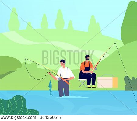 Fishing On River. Fisherman Catches Fishes, Man With Rod In Lake. Friends Recreation, Male Outdoor L