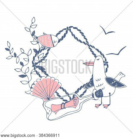 Cute Sea-themed Frame With A Cute Funny Seagull With Shells And Fish. Vector