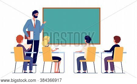 Children Study With Teacher. School Inclusion Study, Kids Discuss In Classroom. Girl Boy Sitting And