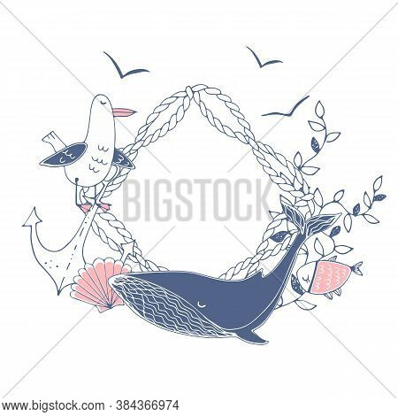Cute Frame In A Nautical Theme With The Whale And Seagulls And Seashells And Fish. Vector