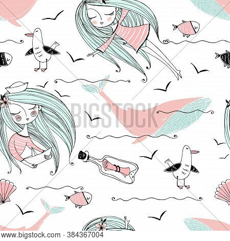 Seamless Pattern On The Sea Theme With Cute Girls, Whales And Seagulls In A Cute Doodle Style. Vecto