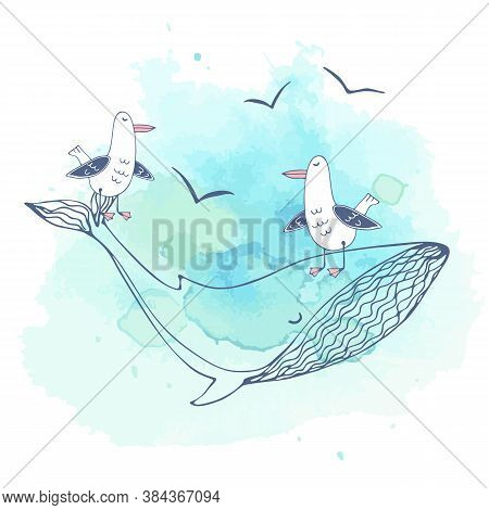 Postcard On The Sea Theme With Cute Seagulls Floating On A Large Whale. Graphics And Watercolors. Ve