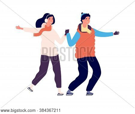 Couple Skating. People On Ice, Winter Outdoor Activities. Happy Sport Man Woman, Active Holiday Dati