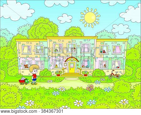 Happily Smiling Little Boy With Toys Going To His Nursery School On A Sunny Morning, Vector Cartoon