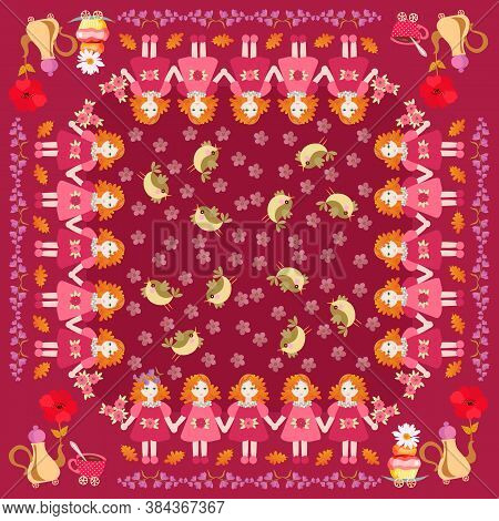 Beautiful Square Pattern With Little Red Haired Girls, Birds, Flowers, And Teapots With Cupcakes. Cu