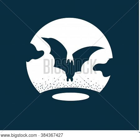 Bat Silhoette At Night. Nocturnal Monochrome Landscape With Dots. Gothic Vector Illustration. Icon O
