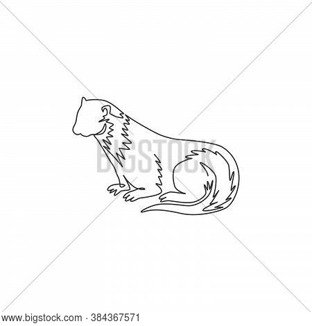 One Single Line Drawing Of Adorable Otter For Company Logo Identity. Rodent River Animal Mascot Conc