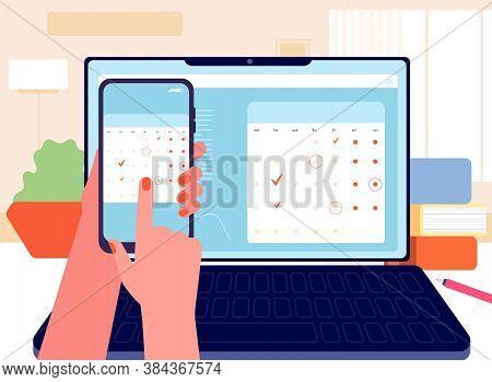 Data Synchronization. Planner, Calendar And To-do List. Schedule, Time Management. Digital Organizer