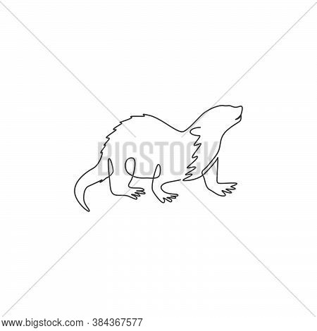 One Continuous Line Drawing Of Cute Otter For Company Logo Company Identity. Lutrinae Animal Mascot