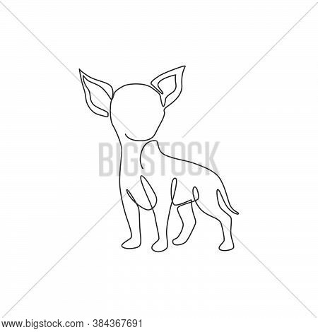Single Continuous Line Drawing Of Cute Chihuahua Dog For Company Logo Identity. Purebred Dog Mascot