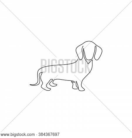 Single One Line Drawing Of Funny Dachshund Dog For Logo Identity. Purebred Dog Mascot Concept For Pe