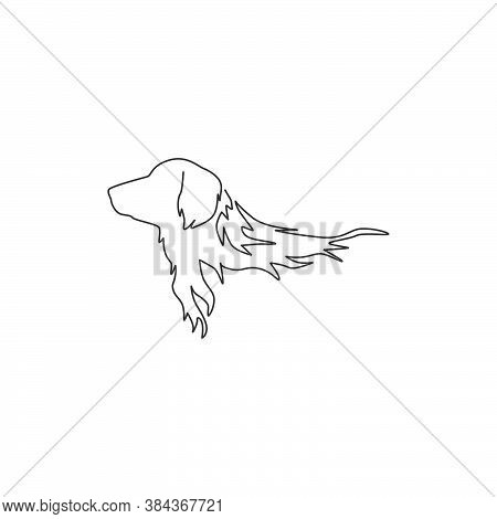 Single Continuous Line Drawing Of Adorable Golden Retriever Dog For Company Logo Identity. Purebred