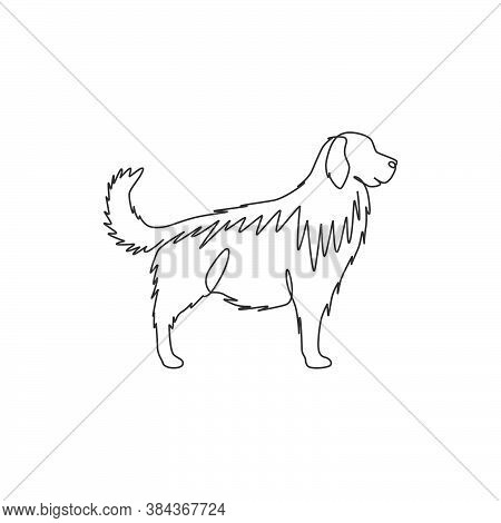 One Continuous Line Drawing Of Cute Golden Retriever Dog For Company Logo Identity. Purebred Dog Mas