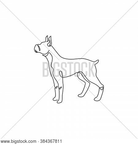 Single One Line Drawing Of Gallant Boxer Dog For Security Company Logo Identity. Purebred Dog Mascot