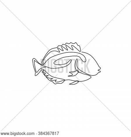 One Continuous Line Drawing Of Cute Blue Tang Fish For Company Logo Identity. Surgeon Fish Mascot Co