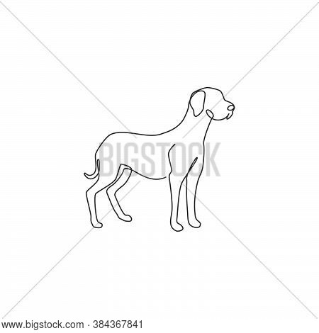 One Continuous Line Drawing Of Dashing Great Dane Dog For Security Company Logo Identity. Purebred D