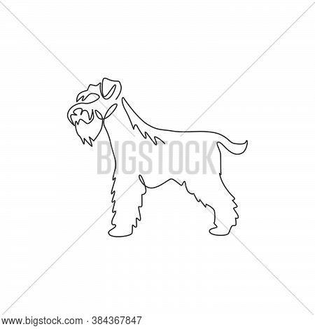 Single One Line Drawing Of Adorable Miniature Schnauzer For Company Logo Identity. Purebred Dog Masc