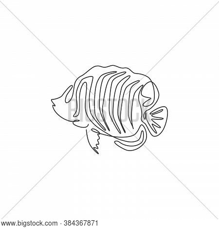 One Continuous Line Drawing Of Cute Regal Angelfish For Company Logo Identity. Sea Angel Fish Mascot
