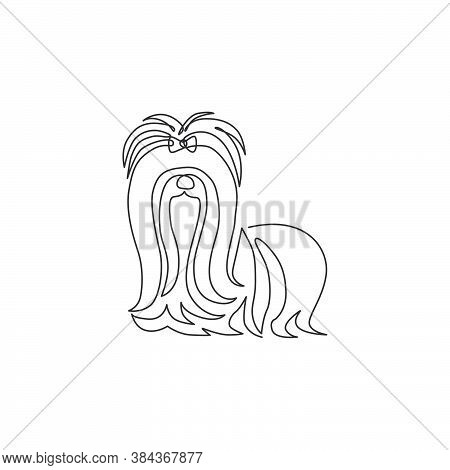 Single Continuous Line Drawing Of Adorable Shih Tzu For Pet Salon Logo Identity. Purebred Dog Mascot