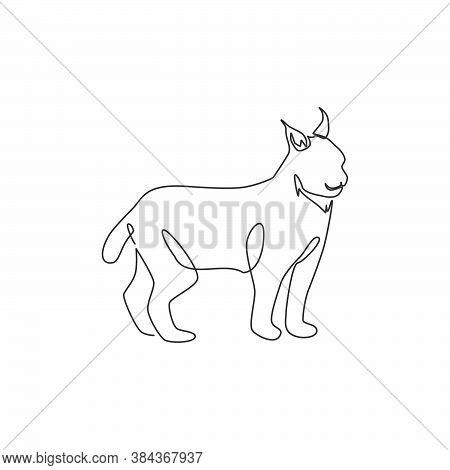 Single Continuous Line Drawing Of Stout Lynx Cat For Company Logo Identity. Bobcat Mammal Animal Mas