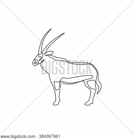 One Continuous Line Drawing Of Stout Oryx For Company Logo Identity. Large African Antelope Mammal A