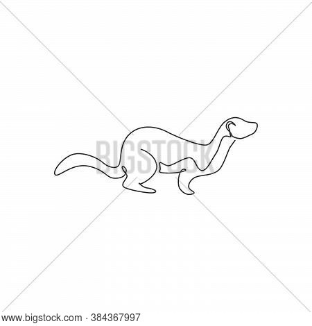 One Continuous Line Drawing Of Funny Weasel For Company Logo Identity. Mustelidae Animal Mascot Conc