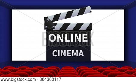 Realistic Cinema. Movie Theater Interior, Online Film Screen. Red Chairs And Movie Clapper Vector Il