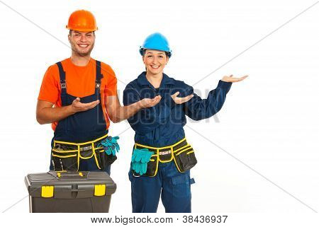 Happy Workers Making Presentation