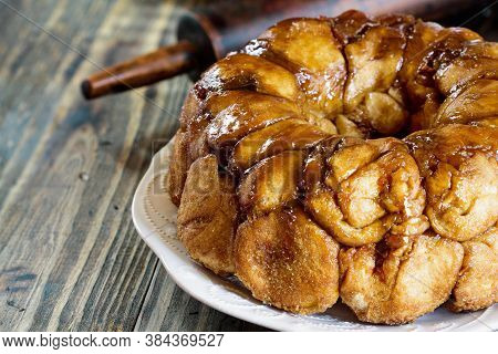 Dessert Of Pull Apart Carrot Cake Monkey Bread. A Yeast Bundt Cake Made With Cinnamon, Carrots, Nuts