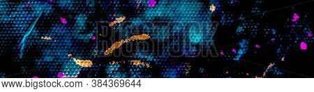 Modern Dirty Design. Vivid Abstract Painting Geometric. Blue Dirty Fabric Pattern. Graffiti Backgrou