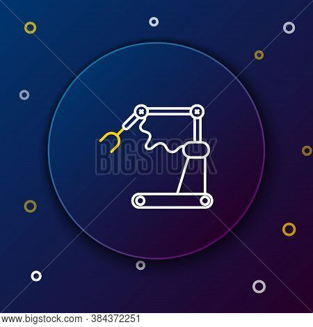 Line Industrial Machine Robotic Robot Arm Hand Factory Icon Isolated On Blue Background. Industrial