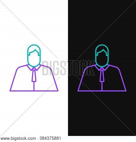 Line Lawyer, Attorney, Jurist Icon Isolated On White And Black Background. Jurisprudence, Law Or Cou