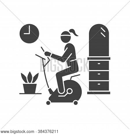 Woman Riding Stationary Bike Stay At Home Black Glyph Icon. Home Leisure. Cardio Fitness Training. V