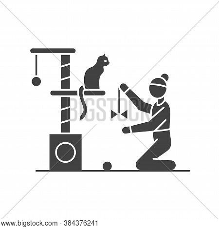Faceless Girl Playing With A Cat Black Glyph Icon. Cute Cat Sitting On Scratching Post. Interior Ite