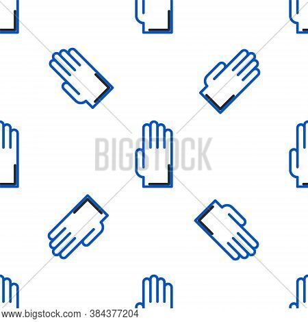 Line Rubber Gloves Icon Isolated Seamless Pattern On White Background. Latex Hand Protection Sign. H
