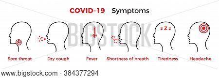 Coronavirus Covid-19 Symptoms. Set Of Icon Vector Illustration