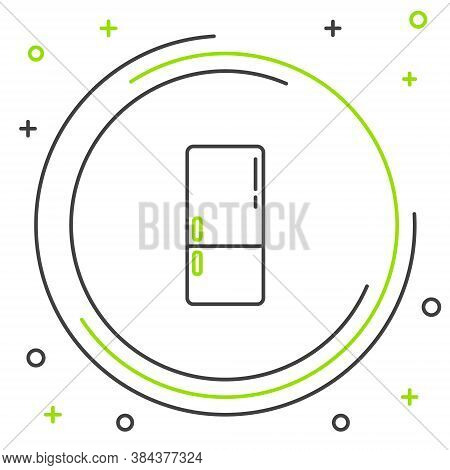Line Refrigerator Icon Isolated On White Background. Fridge Freezer Refrigerator. Household Tech And