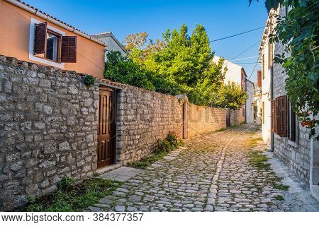 Romantic Street And Old Houses In The Old Town Of Osor On The Island Of Cres In Croatia