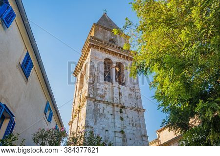 Town Of Osor On The Island Of Cres In Croatia, Cathedral Tower And Cityscape