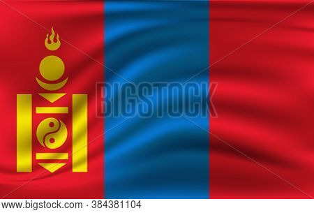 Flag Of Mongolia. Realistic Waving Flag Of Mongolia. Fabric Textured Flowing Flag Of Mongolia.