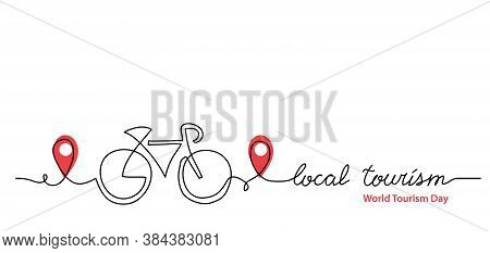 Local Tourism Simple Web Banner , Background, Poster With Pinpoint Icon And Bicycle. Vector Minimali