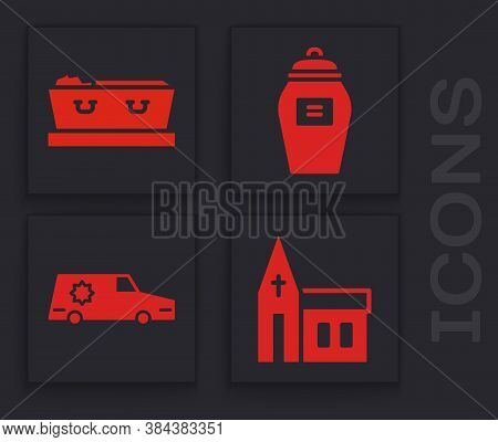 Set Church Building, Coffin With Dead, Funeral Urn And Hearse Car Icon. Vector