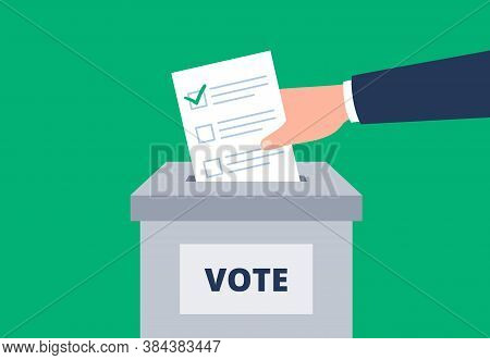 A Hand Is Putting Paper Ballot To The Election Box. Voting For. Democratic Election. Vector Flat Ill