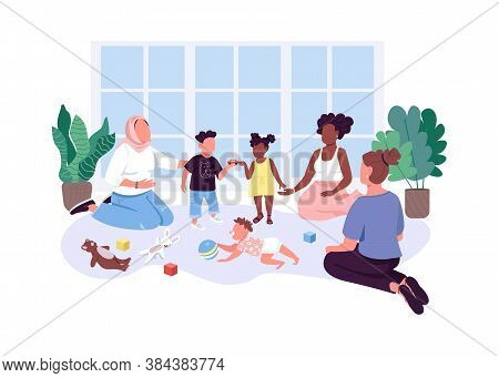 Mom-baby Group Flat Color Vector Faceless Characters. Mothers Spend Time With Their Children. Momuni