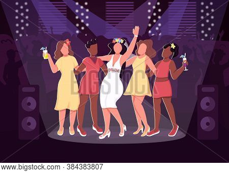 Nightclub Party Flat Color Vector Illustration. Cheerful Girls In Cool Dresses. Female Friendship. P