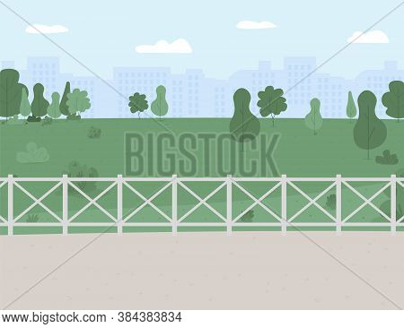 Park And Recreation Area Flat Color Vector Illustration. Outdoor Location. Playground. Public Place.